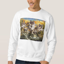 Pack of wolves running sweatshirt