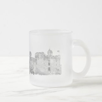 """pack out of glass """"castle """" 10 oz frosted glass coffee mug"""