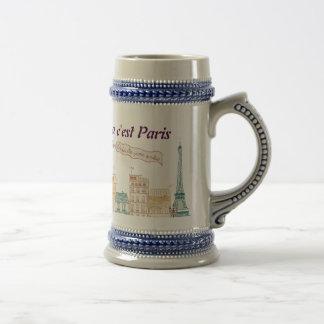 "pack ""Paris"" Eiffel Tower 18 Oz Beer Stein"