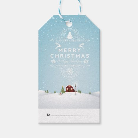 Package Tag - Red Cabin in Snow Winter Scene