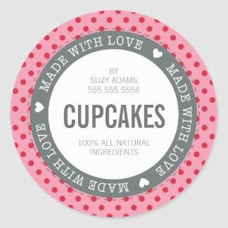 PACKAGING PRODUCT LABEL made with love pink red Classic Round Sticker