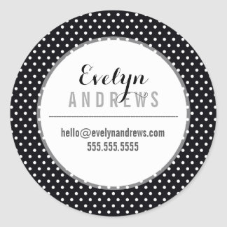 PACKAGING SIMPLE SPOT mini polka dot black white Classic Round Sticker