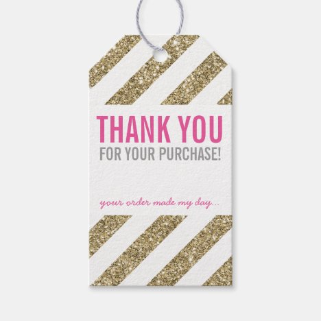 PACKAGING THANK YOU cute gold glitter stripe pink Gift Tags