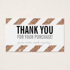 Packaging Thank You Rose Gold Glitter Stripe Black Business Card at Zazzle