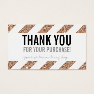 Packaging Thank You Rose Gold Glitter Stripe Black Business Card
