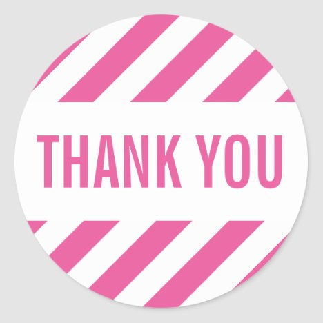 PACKAGING THANK YOU SEAL bold bright stripe pink