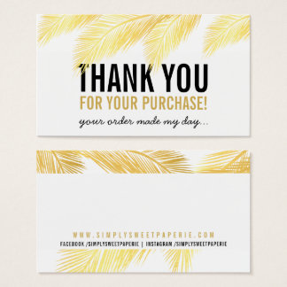 PACKAGING THANK YOU tropicla gold palm leaf frond Business Card