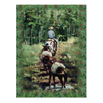 PACKING & FIR BOUGHS by SHARON SHARPE Postcard