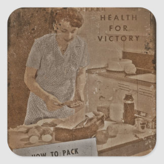 Packing Lunch Boxes WWII Square Sticker