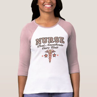 PACU Nurse Raglan Jersey Pink Caduceus T shirt
