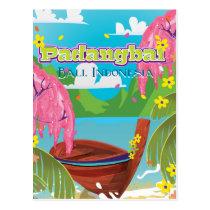 Padangbai cartoon travel poster art. postcard