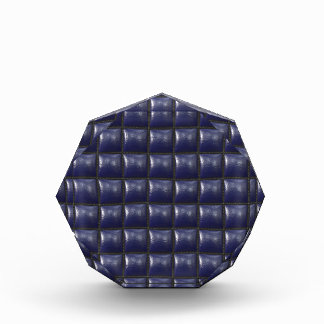 Padded Cell Walls Texture. Blue Leather Pattern Acrylic Award