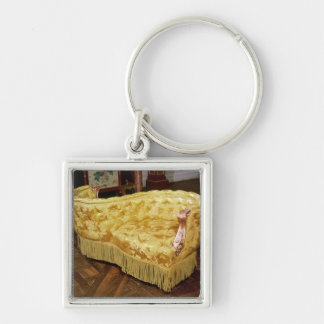 Padded love seat, Napoleon III Period Silver-Colored Square Keychain