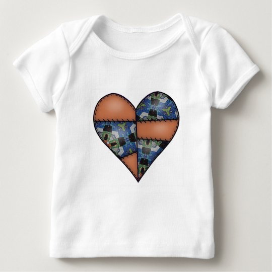 Padded Quilted Stitched Heart  Brown Baby T-Shirt
