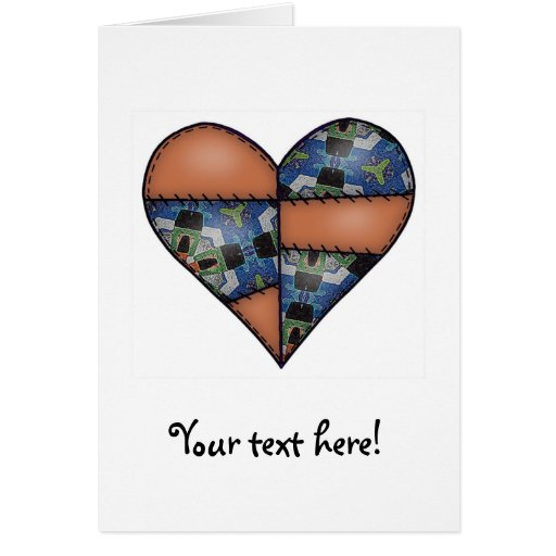 Padded Quilted Stitched Heart  Brown Cards