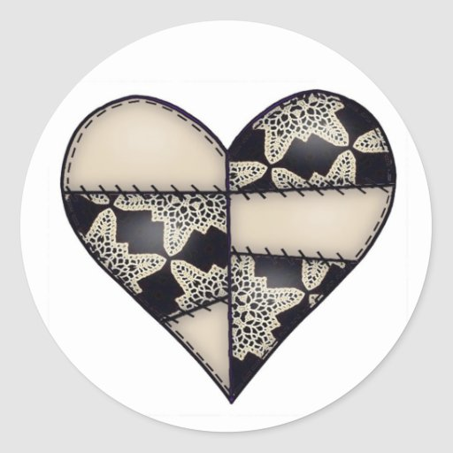 Padded Quilted Stitched Heart  Brown Classic Round Sticker