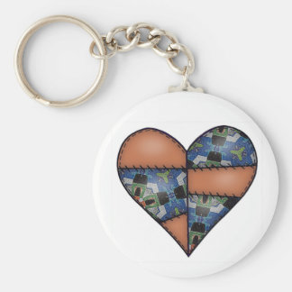 Padded Quilted Stitched Heart  Brown Keychain