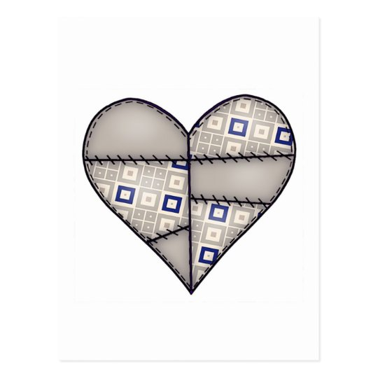 Padded Quilted Stitched Heart  Brown Postcard