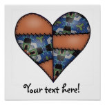 Padded Quilted Stitched Heart  Brown Posters