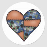 Padded Quilted Stitched Heart  Brown Round Sticker
