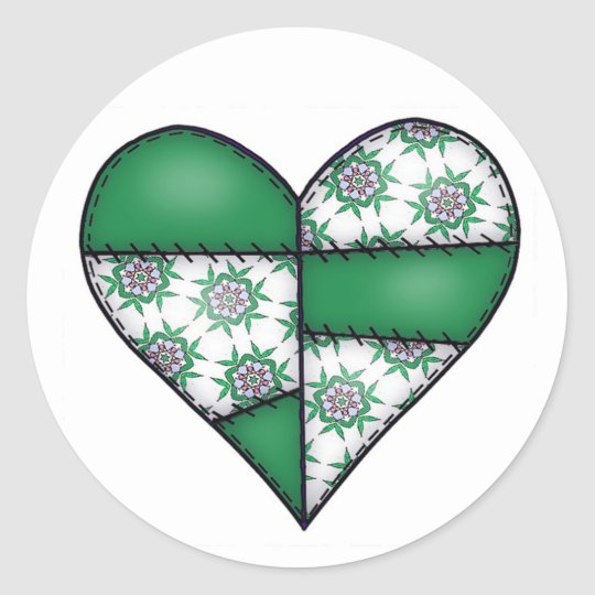 Padded Quilted Stitched Heart  Green 01 Classic Round Sticker