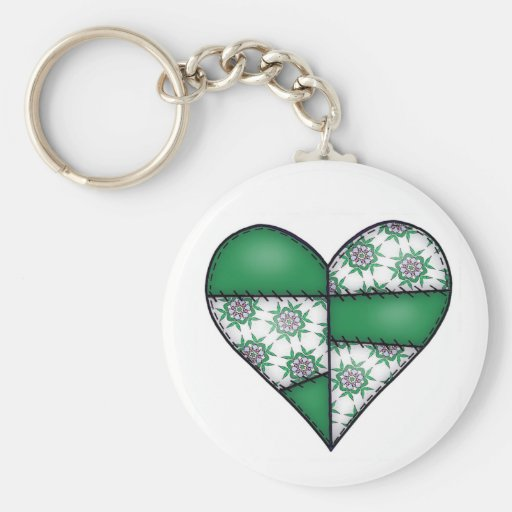 Padded Quilted Stitched Heart  Green 01 Keychains