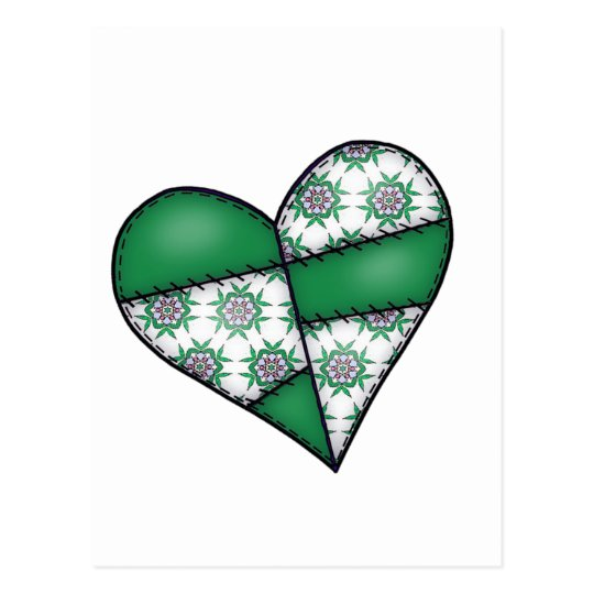 Padded Quilted Stitched Heart  Green 01 Postcard