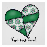 Padded Quilted Stitched Heart  Green 01 Posters