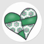 Padded Quilted Stitched Heart  Green 01 Sticker