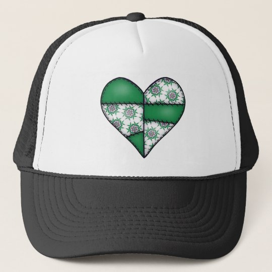 Padded Quilted Stitched Heart  Green 01 Trucker Hat
