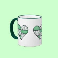 Padded Quilted Stitched Heart Green Mug - Patchwork padded and quilted heart in fabric patterns mixed with plain colors. All artwork is copyright Jean Hall ... ArtbyJean.