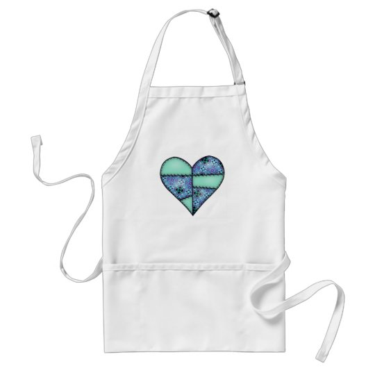 Padded Quilted Stitched Heart Green-07 Adult Apron