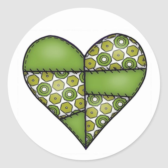 Padded Quilted Stitched Heart Green-09 Classic Round Sticker