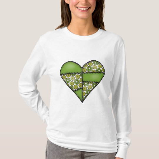 Padded Quilted Stitched Heart Green-09 T-Shirt