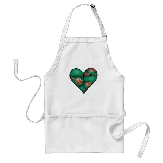 Padded Quilted Stitched Heart Green-10 Adult Apron