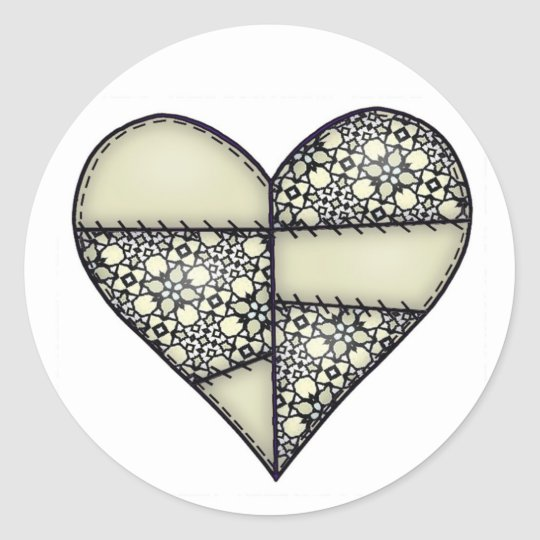 Padded Quilted Stitched Heart Green-11 Classic Round Sticker