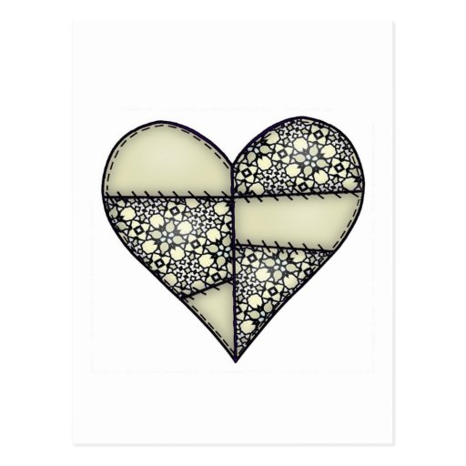 Padded Quilted Stitched Heart Green-11 Post Card