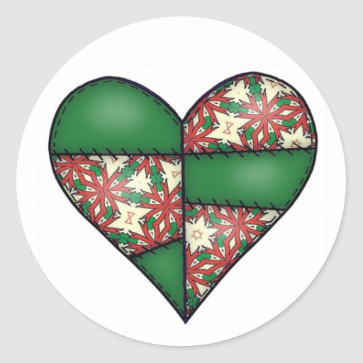 Padded Quilted Stitched Heart Green-12 Round Stickers