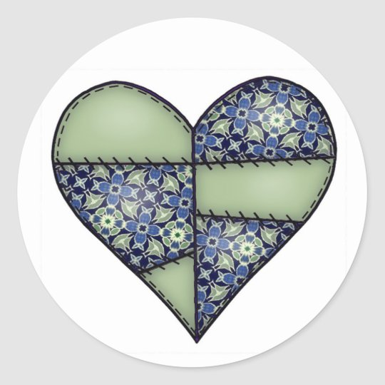 Padded Quilted Stitched Heart  Green Classic Round Sticker