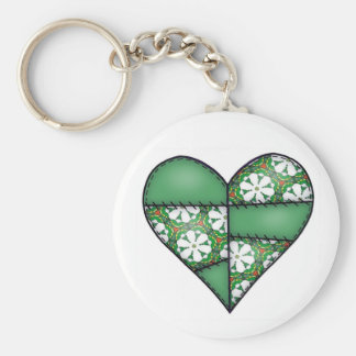 Padded Quilted Stitched Heart  Green Keychain