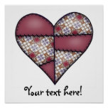 Padded Quilted Stitched Heart Maroon-01 Print
