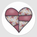 Padded Quilted Stitched Heart Maroon-01 Round Stickers