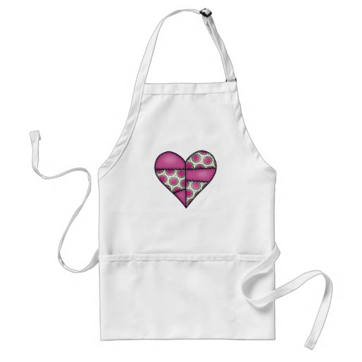 Padded Quilted Stitched Heart Maroon-02 Adult Apron