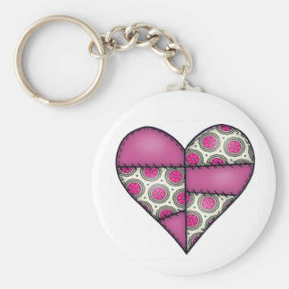 Padded Quilted Stitched Heart Maroon-02 Keychain