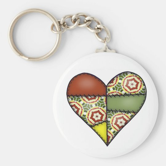 Padded Quilted Stitched Heart Multicolor-02 Keychain