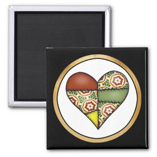 Padded Quilted Stitched Heart Multicolor-02 2 Inch Square Magnet