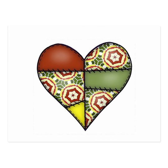 Padded Quilted Stitched Heart Multicolor-02 Postcard