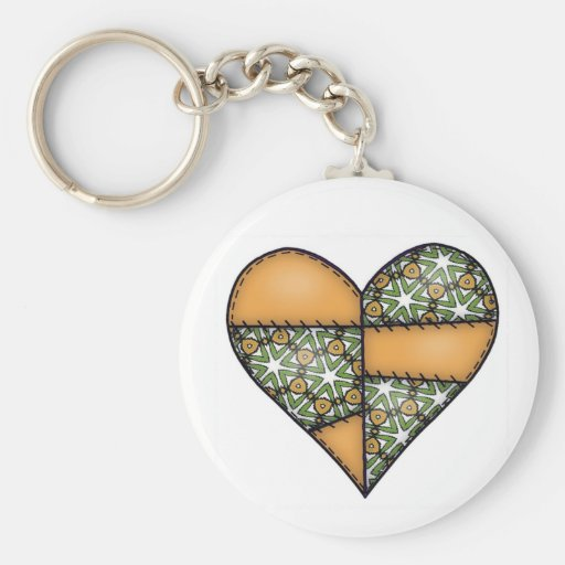 Padded Quilted Stitched Heart Orange-03 Keychains
