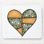 Padded Quilted Stitched Heart Orange-03 Mouse Pad