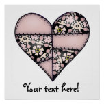Padded Quilted Stitched Heart Peach-01 Posters